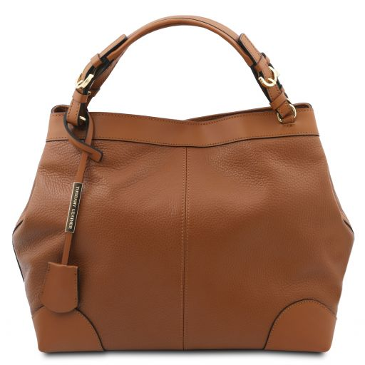 Ambrosia Soft leather shopping bag with shoulder strap Cognac TL142143