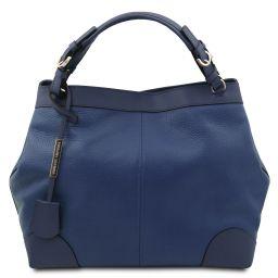 Ambrosia Borsa shopping in pelle morbida con tracolla Blu scuro TL142143