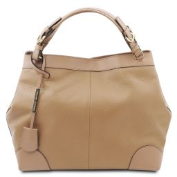 Ambrosia Soft leather shopping bag with shoulder strap Champagne TL142143