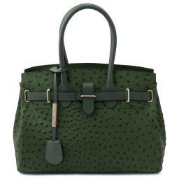 TL Bag Sac à main en cuir imprimé effet autruche Vert Forêt TL142120