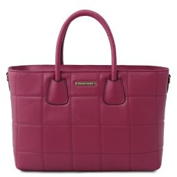 TL Bag Soft quilted leather handbag Plum TL142124