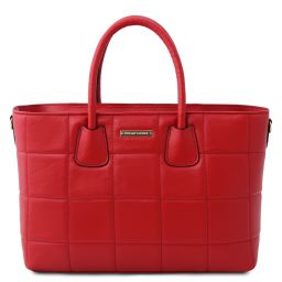 TL Bag Borsa a mano in pelle morbida trapuntata Rosso Lipstick TL142124