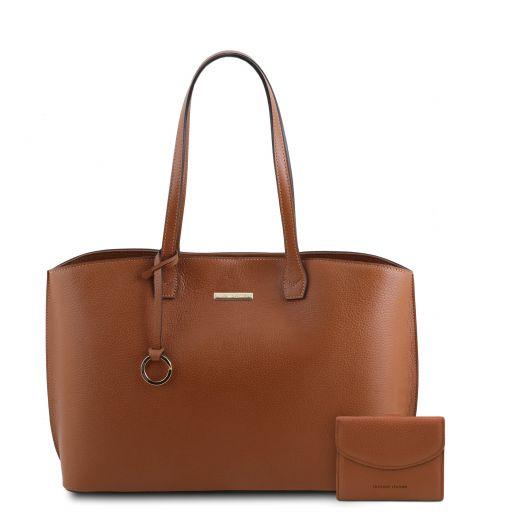 Pantelleria Sac shopping en cuir et portefeuille en cuir avec 3 volets et porte monnaie Cognac TL142157