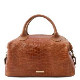 TL Bag Maxi Bauletto aus weichem Leder mit Kroko-Prägung Cinnamon TL142121