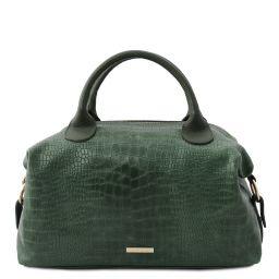 TL Bag Croc print soft leather maxi duffle bag Forest Green TL142121