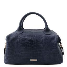 TL Bag Maxi bauletto in pelle morbida stampa cocco Blu scuro TL142121