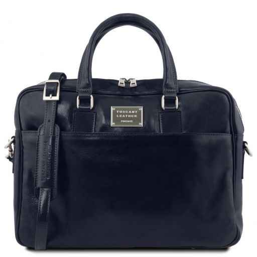 Urbino Leather laptop briefcase with front pocket Dark Blue TL141241