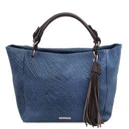 TL Bag Woven printed leather shopping bag Dark Blue TL142066