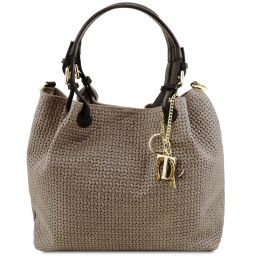 TL KeyLuck Woven printed leather shopping bag Dark Taupe TL141573