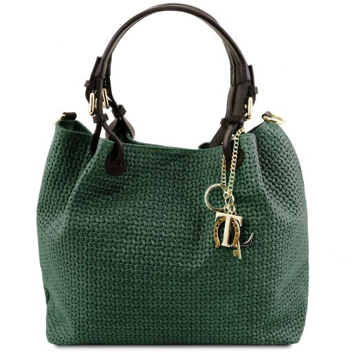 TL KeyLuck Woven printed leather shopping bag Forest Green TL141573