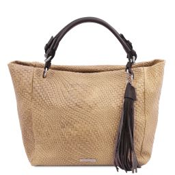 TL Bag Woven printed leather shopping bag Beige TL142066