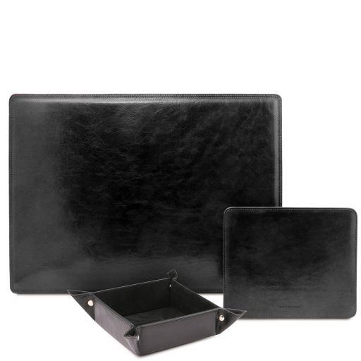 Premium Office Set Sottomano da scrivania, tappetino per mouse e vuotatasche in pelle Nero TL142088