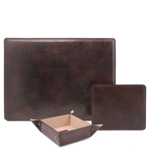 Premium Office Set Leather desk pad, mouse pad and valet tray Dark Brown TL142088