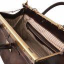 Barcellona Maulbügelreisetasche aus Leder mit Doppel-Boden Dunkelbraun TL141185