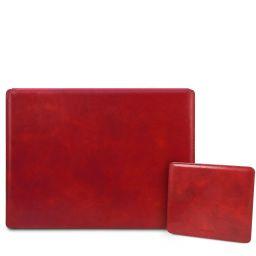 Office Set Schreibtischunterlage mit Klappe und Mauspad aus Leder Rot TL142161