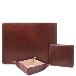 Premium Office Set Sottomano da scrivania con ribalta, tappetino per mouse e vuotatasche in pelle Marrone TL142162