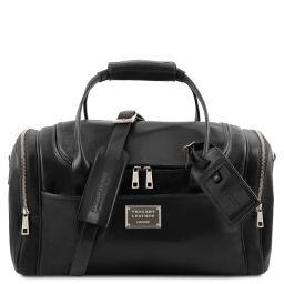 TL Voyager Reisetasche aus Leder mit 2 Reissverschluss Seitentaschen - Klein Schwarz TL142142