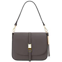 Nausica Leather shoulder bag Grey TL141598