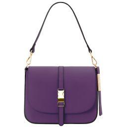 Nausica Leather shoulder bag Purple TL141598
