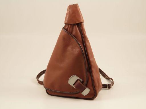 Hong Kong Rucksack Tropfendesign aus Leder Cognac TL140443