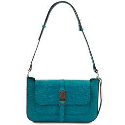 Noemi Croc print leather clutch handbag Бирюзовый TL142065