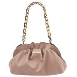 TL Bag Pochette in pelle morbida con tracolla a catena Nude TL142184