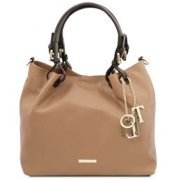 TL KeyLuck Soft leather shopping bag Champagne TL141940