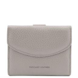 Calliope Elégant portefeuille en cuir pour femme avec 3 volets et porte monnaie Gris clair TL142058