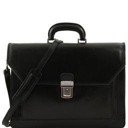 Roma Кожаный портфель на 3 отделения Черный TL10026
