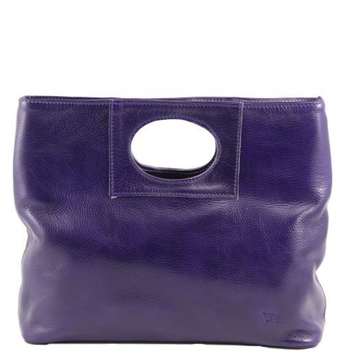 Mary Leather bag with round cut-out handle Purple TL140495