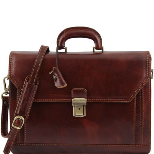 Roma Leather briefcase 3 compartments Brown TL10026